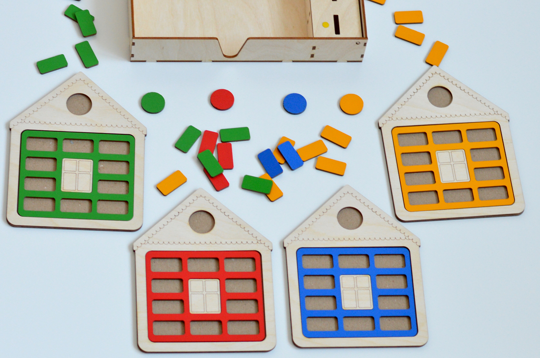 Laser Cut Wooden House Shape Sorter Toy Free Vector