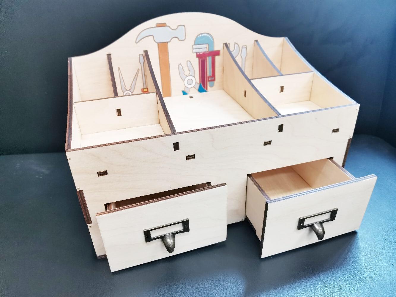 Laser Cut Multipurpose Tool Storage Organizer With Drawer 6mm Free Vector