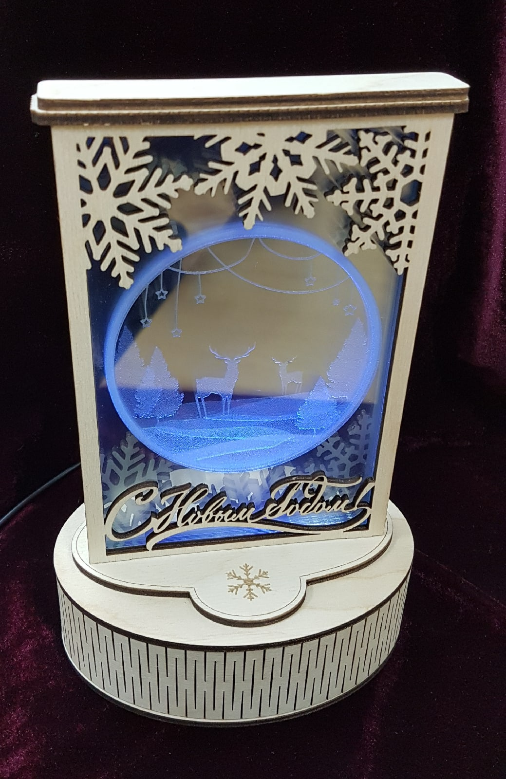 Laser Cut Christmas Light Decoration Lamp Plywood 3mm Glass 1mm Free Vector