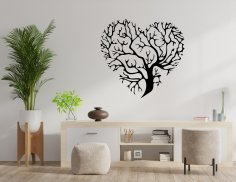 Laser Cut Heart Shaped Tree Of Life Wall Plaque Decor Free Vector