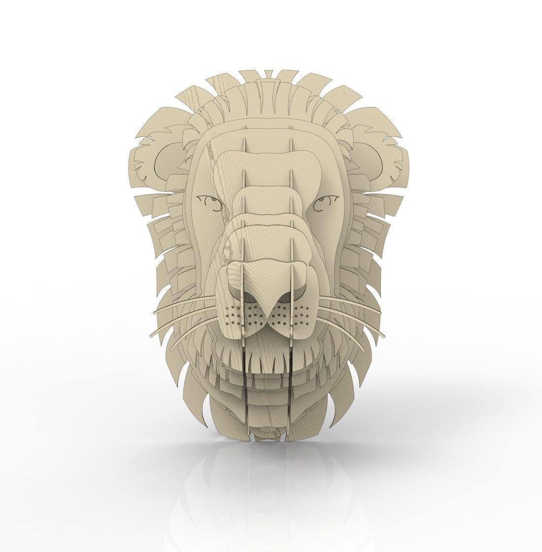 Laser Cut Lion Head Wall Decor Plywood 4mm Free Vector
