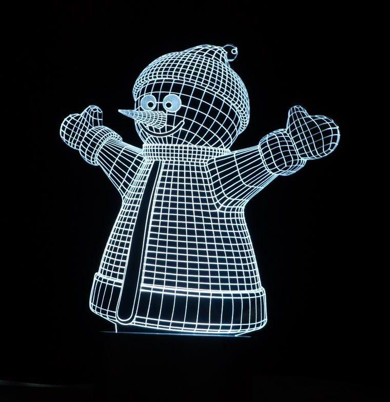 Laser Cut Snowman Decor 3D Acrylic Lamp Free Vector