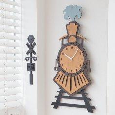 Laser Cut Wooden Train Wall Clock Kids Room Wall Decor Free Vector