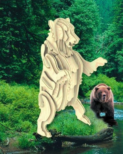 Grizzly Bear 3D Wooden Puzzle DXF File
