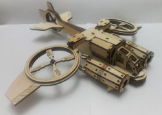 Laser Cut Spaceship Helicopter Toy Template Free Vector