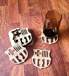 Laser Cut FCB Football Coasters Free Vector