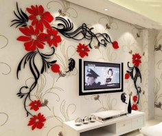 Laser Cut TV Wall Acrylic 3D Relief Wall Sticker Free Vector