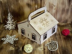 Laser Cut Candy Hut Gift Box with Handle Free Vector