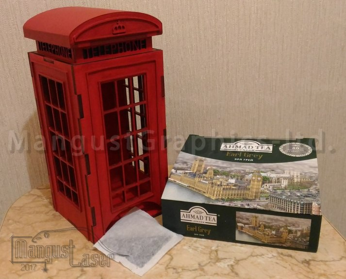 Laser Cut Tea Bags Holder London Phone Booth Free Vector