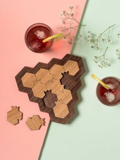 Laser Cut Wood Coasters Free Vector