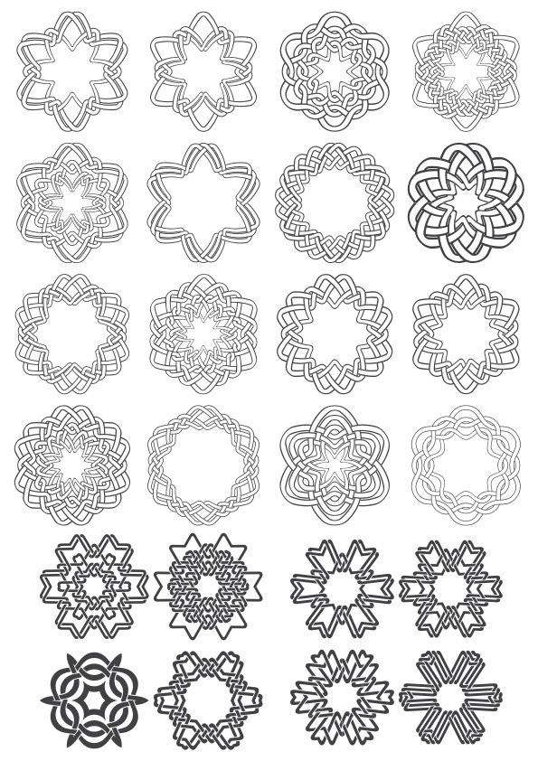 Geometric Circle Ornaments Set Free Vector