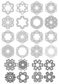 Geometric Circle Ornaments Set Free Vector