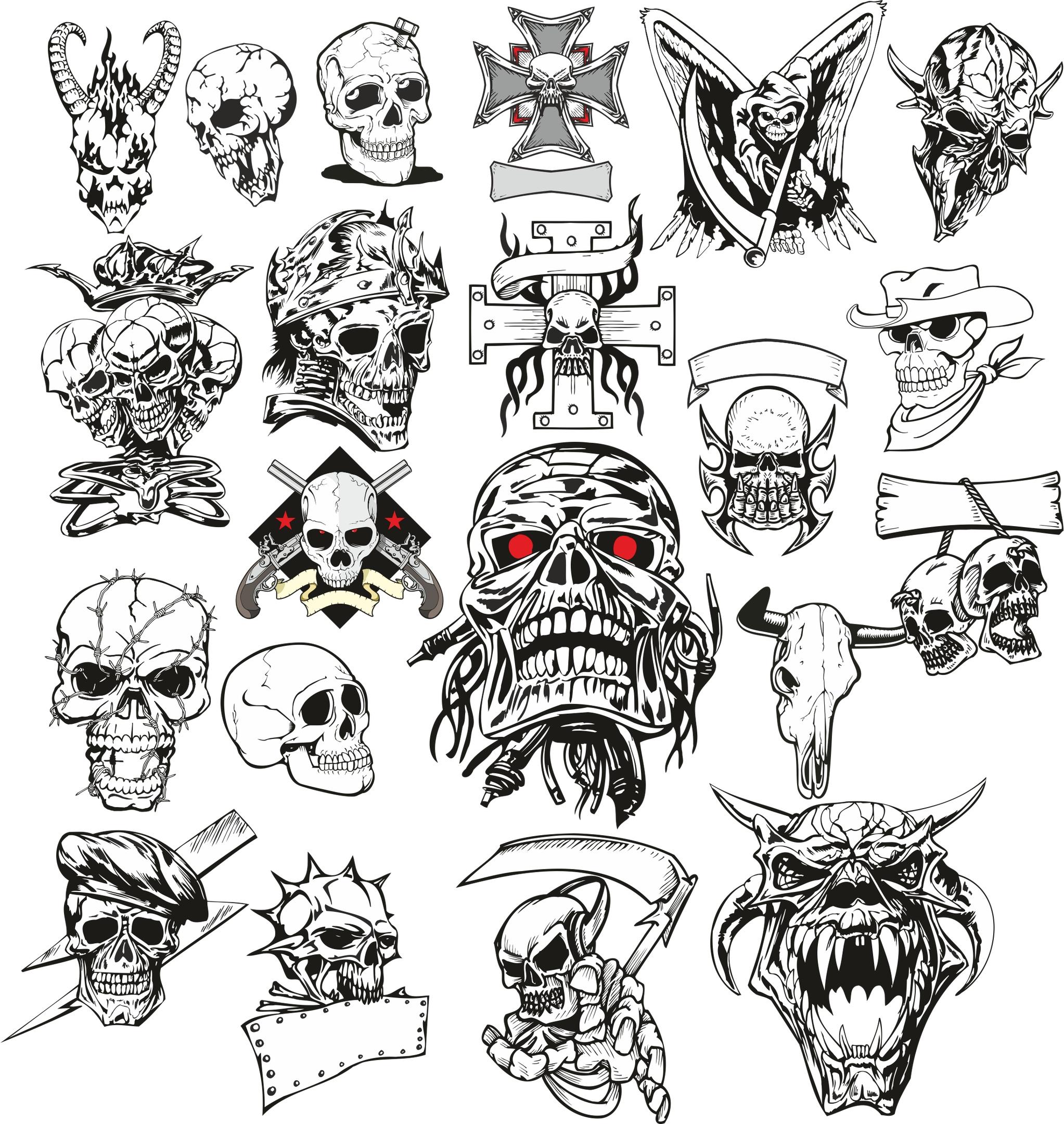 Angry Skull Vector Set Free Vector