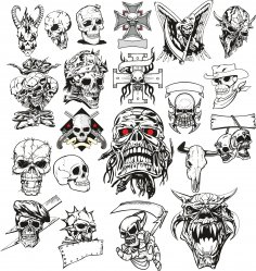 Angry Skull Vector Set Free Vector