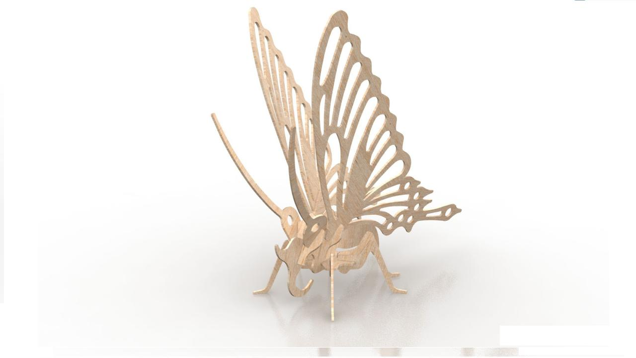 Butterfly Wood Insect 3d Puzzle 3mm DXF File