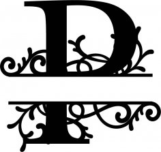 Split Monogram Letter P DXF File