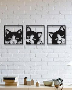Laser Cut Interior Wall Decor Cat Free Vector