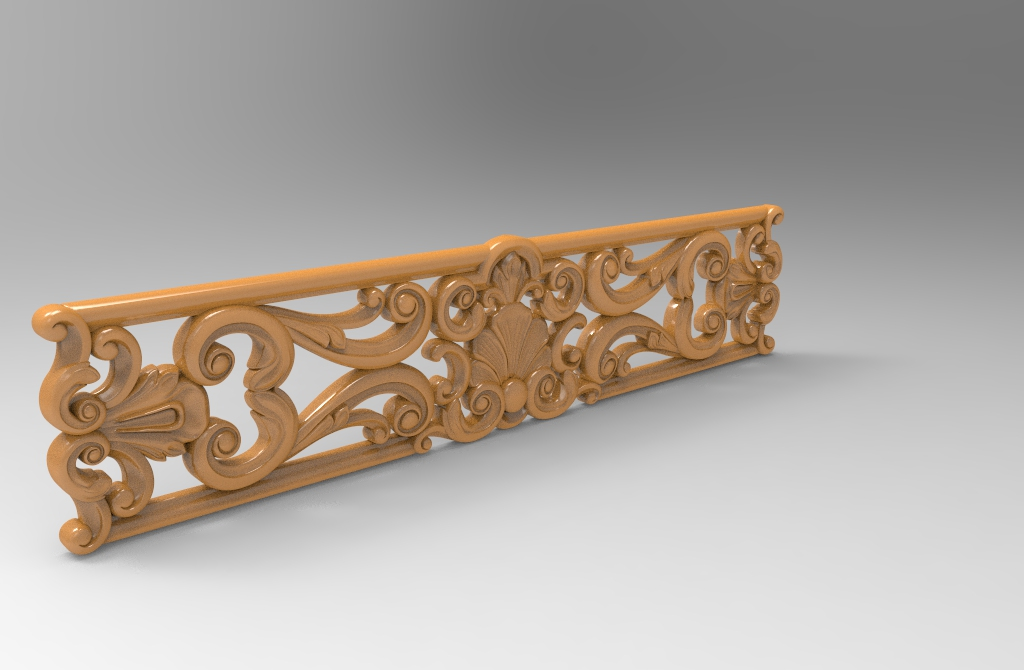CNC Router Caving Horizontal 3D Wood Design Stl File