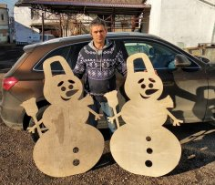 Laser Cut Plywood Snowmen Free Vector