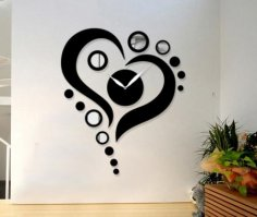 Laser Cut Heart Shape Wall Clock Free Vector
