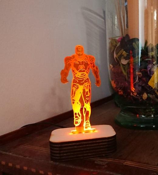 Laser Cut Iron Man Acrylic 3D LED Night Lamp SVG File