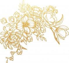 Laser Cut Engrave Flower Design Free Vector
