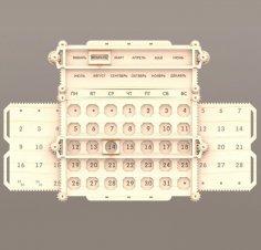 Laser Cut Wooden Mechanical Calendar Free Vector