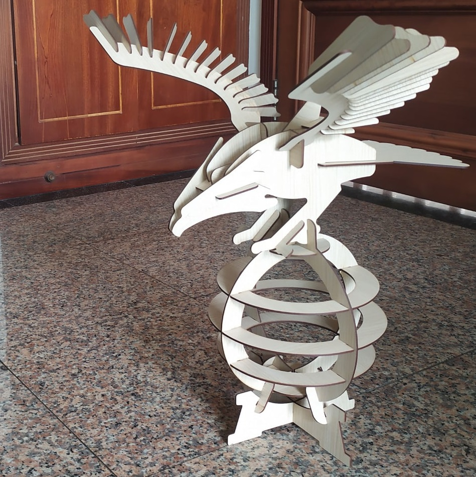 Laser Cut Wooden Eagle 3D Puzzle On Display Stand DXF File