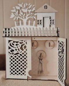 Laser Cut Wooden Key Box Cabinet Keys Storage Free Vector