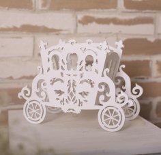 Laser Cut Cinderella Carriage Flower Holder Free Vector