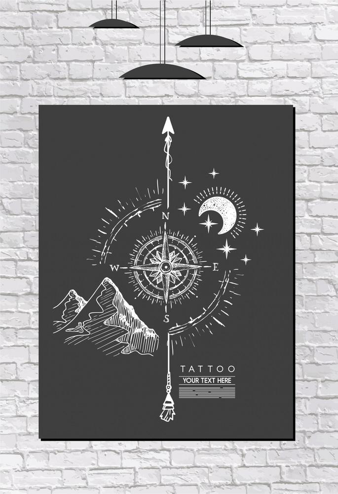 Compass Painting Black White Handdrawn Retro Design Free Vector