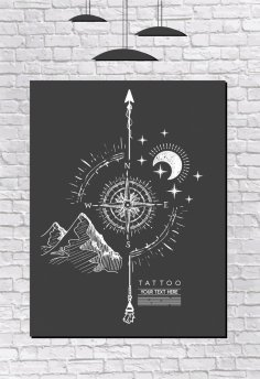 Compass Painting Black White Handdrawn Retro Design Free Vector