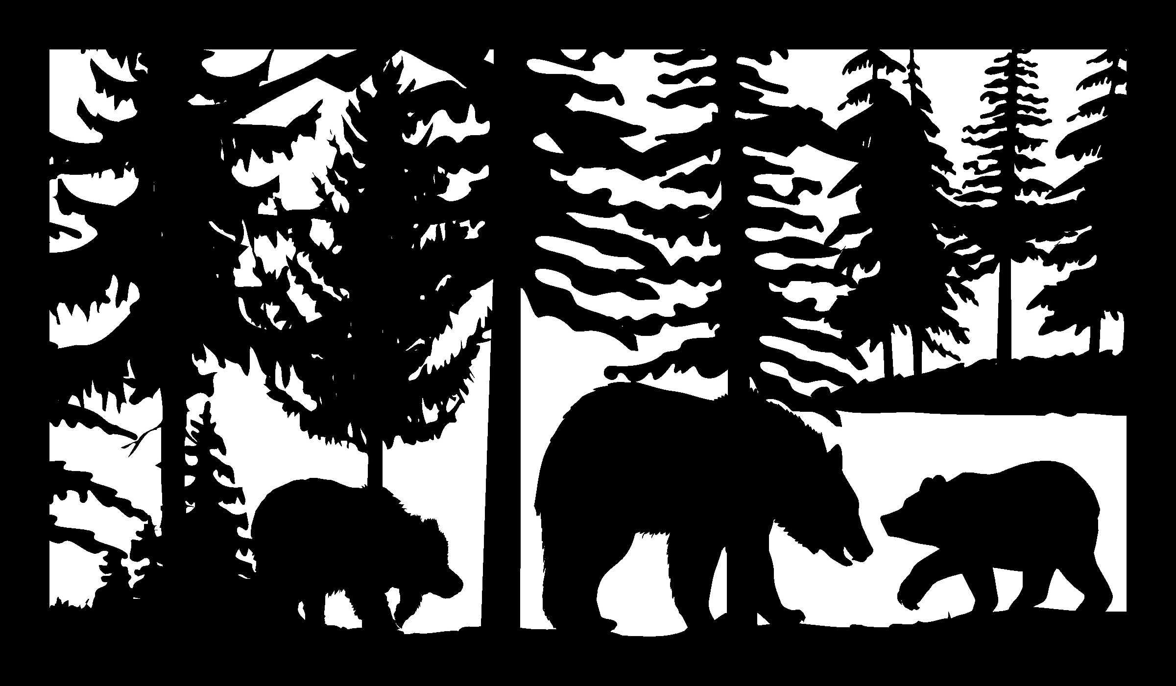 30 X 48 Bear With Two Cubs Trees Plasma Art DXF File