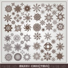 Collection Vintage Snowflackes Free Vector