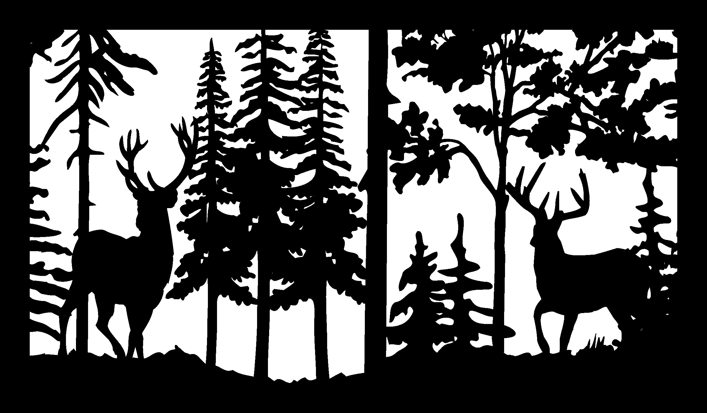 28 X 48 Two Buck Deer Trees Plasma Art DXF File