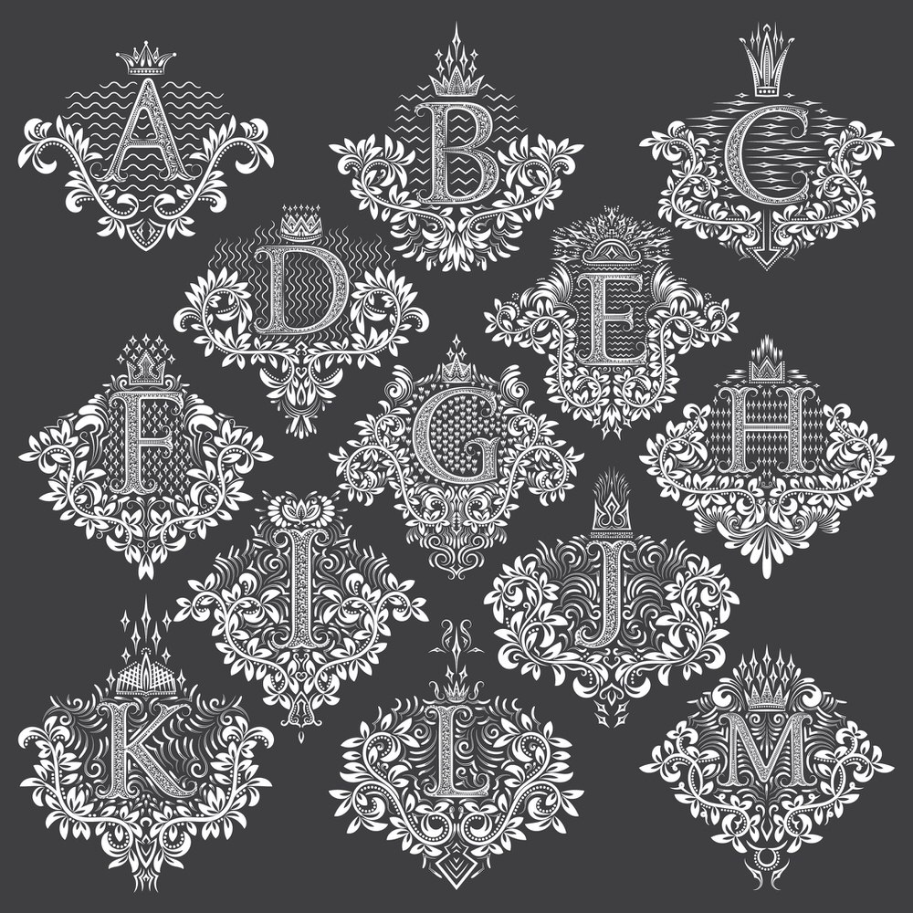 Decorative Letters Vector Set Free Vector