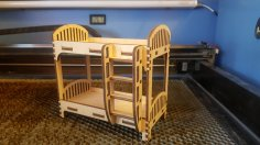 Laser Cut Toy Bunk Bed Dollhouse Furniture Free Vector