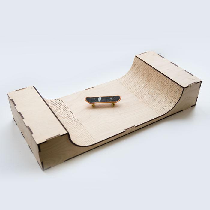 Laser Cut Wooden Fingerboard Ramp Free Vector