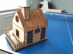 Laser Cut Wooden House With Chimney DXF File