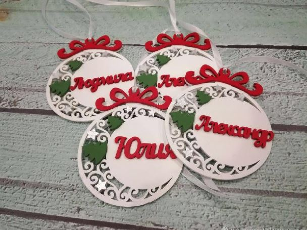 Laser Cut Wooden Personalized Christmas Ornaments Pendants Free Vector