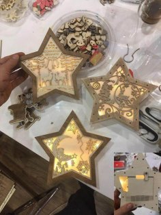 Christmas Decoration Nightlight Star Laser Cut Template Free Vector