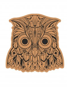 Decorative Owl Head Laser Cut Engraving Template Free Vector