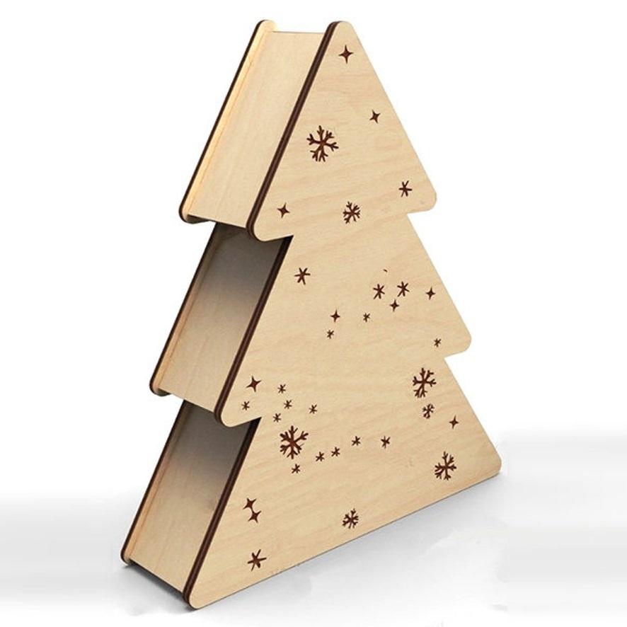 Laser Cut Christmas Tree Gift Box Free Vector