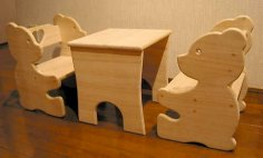 Bear Chair and Table Set for Kids Laser Cutting CNC Router Plans Free Vector