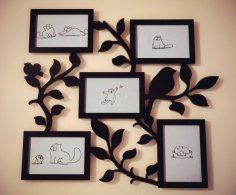 Family Tree With Photo Frames For Laser Cutting Free Vector