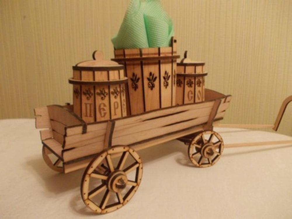Laser Cut Wooden Salt And Pepper Holder Wooden Wine Barrel Cart Free Vector