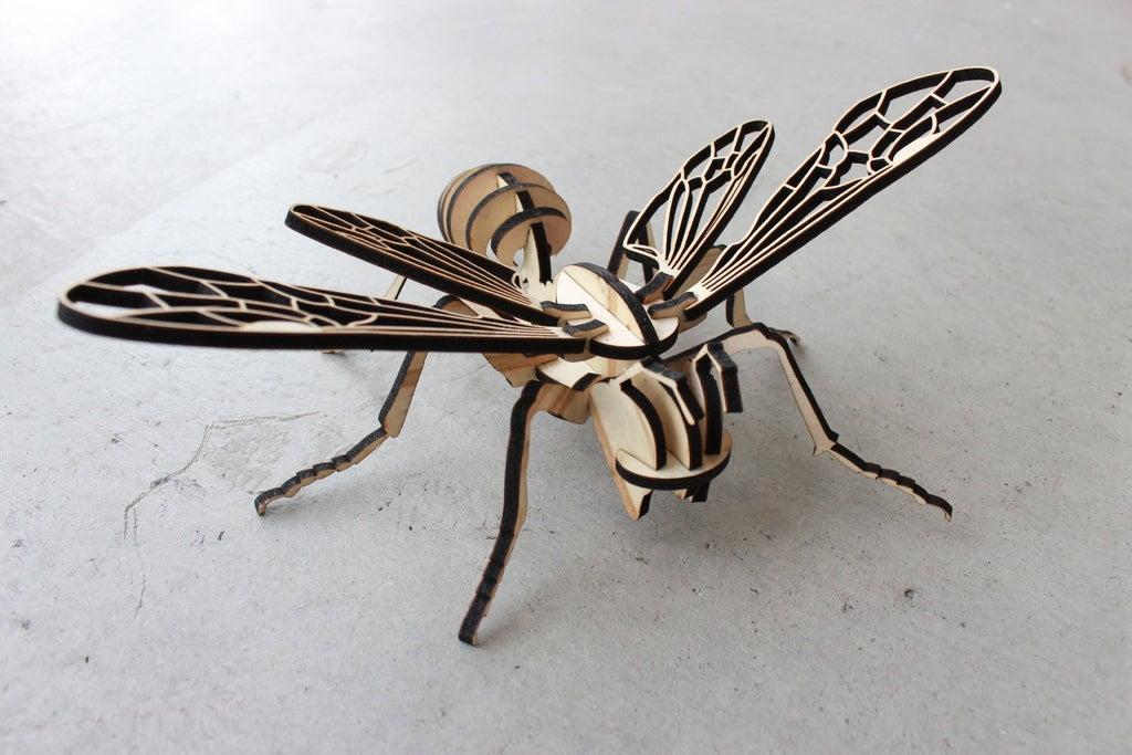 Laser Cut Bee Puzzle 4mm Plywood Free Vector