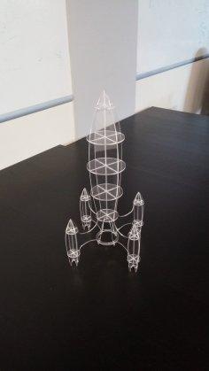 Laser Cut Rocket 3mm Plexiglass DXF File