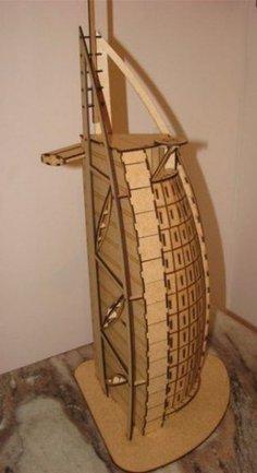 Laser Cut Burj Al Arab 3D Wooden Model Free Vector