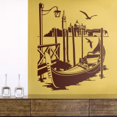 Laser Cut Gondola In Venice Wall Sticker Free Vector